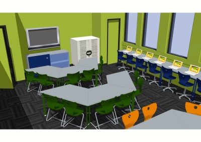 A rendering of CTN's first Media Room installation, at Holy Family CA