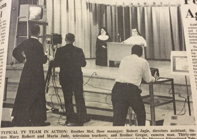 Production Team on location-creating a library of programs for the launch of the channel in 1966.