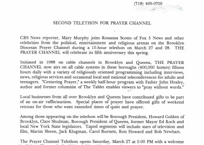 1993 Press Release-Second Telethon for the Prayer Channel