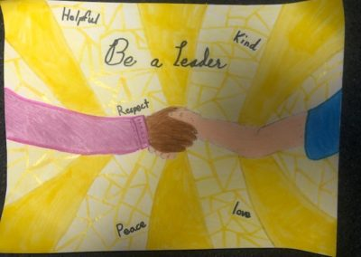 Tablet Jr. drawing, Be Kind and Be a Leader, by Cordelia Monahan, Alexa Gennaro, and Jason Paolino, Gr. 5